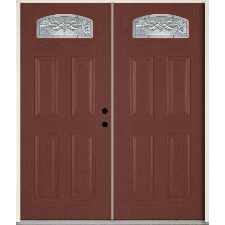 ReliaBilt Hampton 4-Panel Insulating Core Morelight Left-Hand Inswing Wineberry Fiberglass Stained Prehung Entry Door (Common: 72.0-in x 80.0-in; Actual: 73.875-in x 81.75-in)