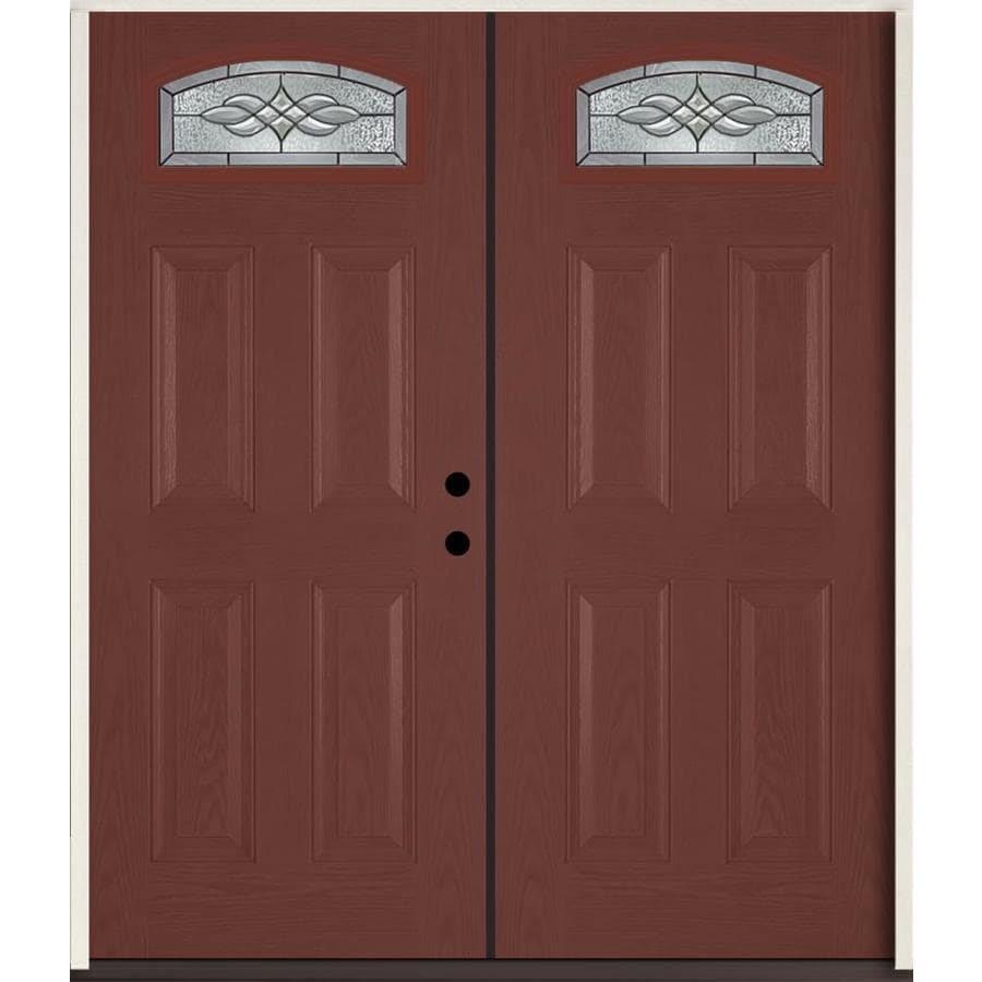 ReliaBilt Hampton Decorative Glass Left-Hand Inswing Wineberry Fiberglass Stained Entry Door (Common: 72-in x 80-in; Actual: 73.875-in x 81.75-in)