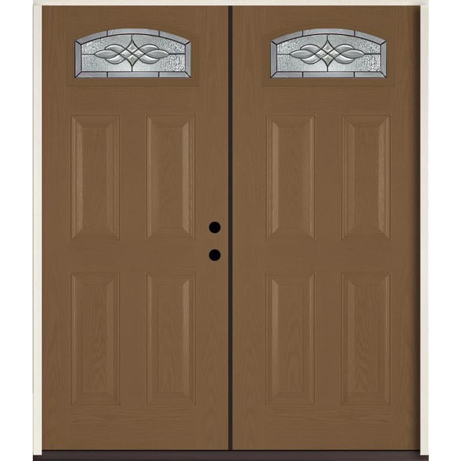 ReliaBilt Hampton 4-Panel Insulating Core Morelight Left-Hand Inswing Woodhaven Fiberglass Stained Prehung Entry Door (Common: 72.0-in x 80.0-in; Actual: 73.875-in x 81.75-in)