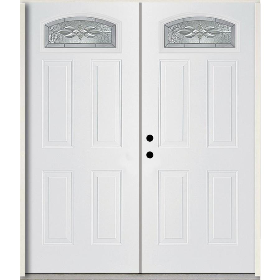 ReliaBilt Hampton Decorative Glass Right-Hand Inswing Modern White Fiberglass Painted Entry Door (Common: 72-in x 80-in; Actual: 73.875-in x 81.75-in)