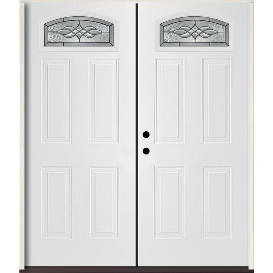 ReliaBilt Hampton 4-Panel Insulating Core Morelight Right-Hand Inswing Modern White Fiberglass Painted Prehung Entry Door (Common: 72.0-in x 80.0-in; Actual: 73.875-in x 81.75-in)
