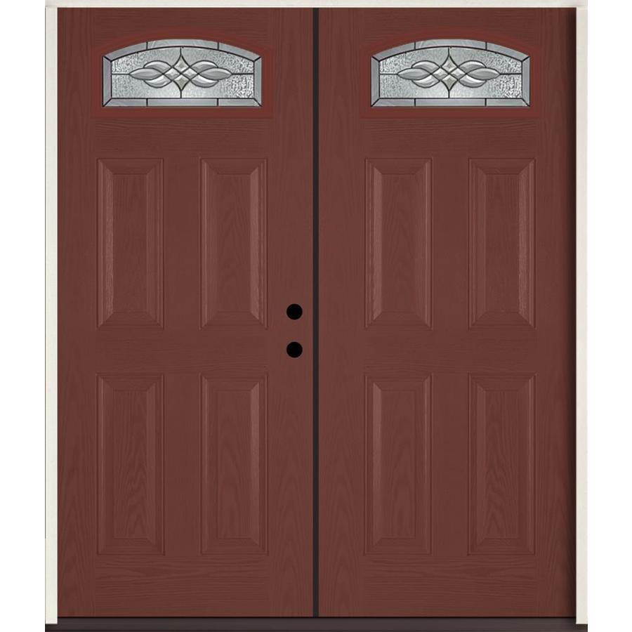 ReliaBilt Hampton 4-panel Insulating Core Morelight Right-Hand Inswing Wineberry Fiberglass Stained Prehung Entry Door (Common: 72-in x 80-in; Actual: 73.875-in x 81.75-in)