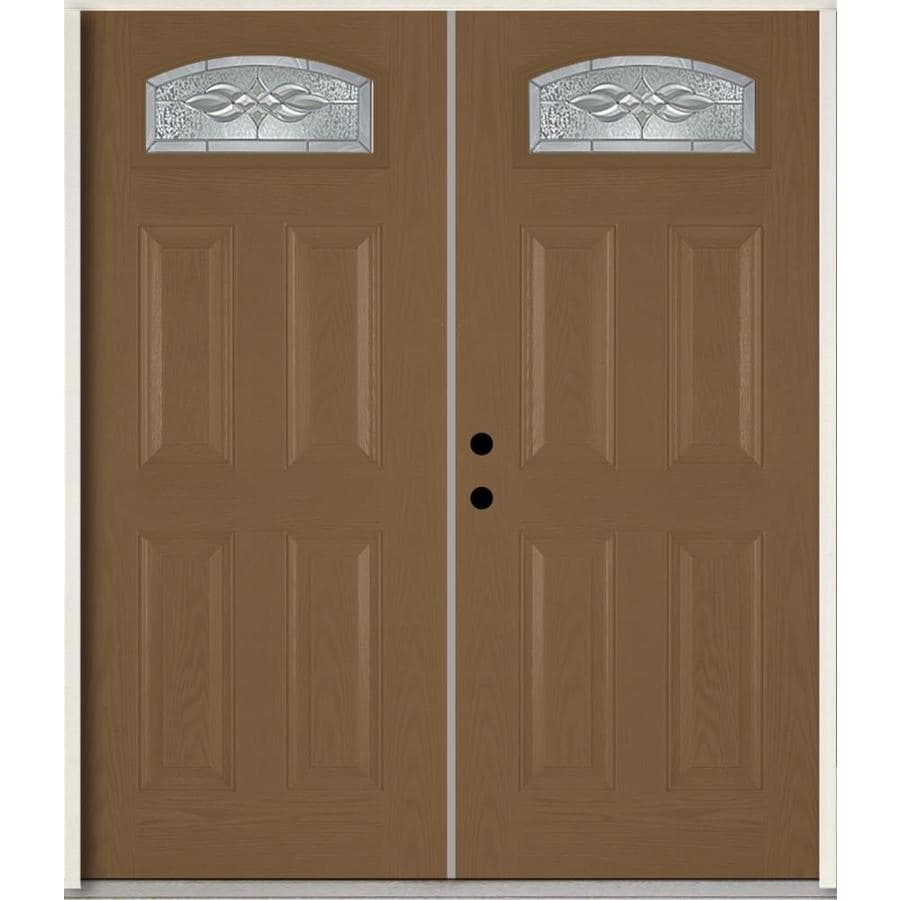 ReliaBilt Hampton 4-Panel Insulating Core Morelight Right-Hand Inswing Woodhaven Fiberglass Stained Prehung Entry Door (Common: 72.0-in x 80.0-in; Actual: 73.875-in x 81.75-in)