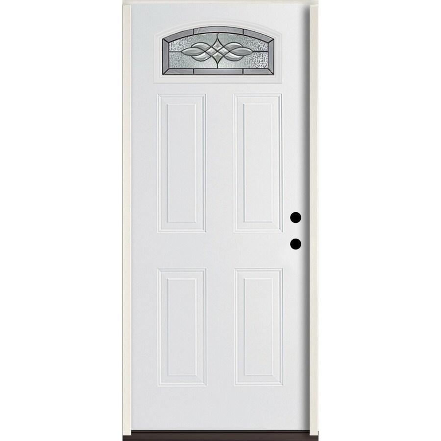 ReliaBilt Hampton 4-panel Insulating Core Morelight Left-Hand Inswing Modern White Fiberglass Painted Prehung Entry Door (Common: 36-in x 80-in; Actual: 37.5-in x 81.75-in)