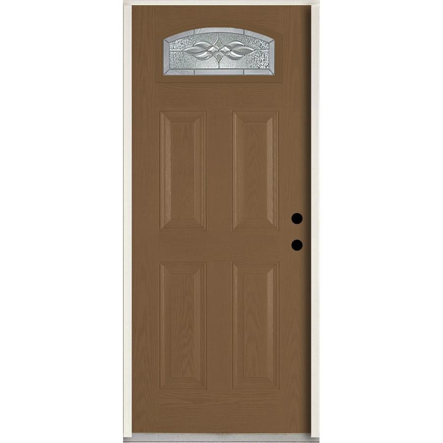 ReliaBilt Hampton 4-Panel Insulating Core Morelight Left-Hand Inswing Woodhaven Fiberglass Stained Prehung Entry Door (Common: 36.0-in x 80.0-in; Actual: 37.5-in x 81.75-in)