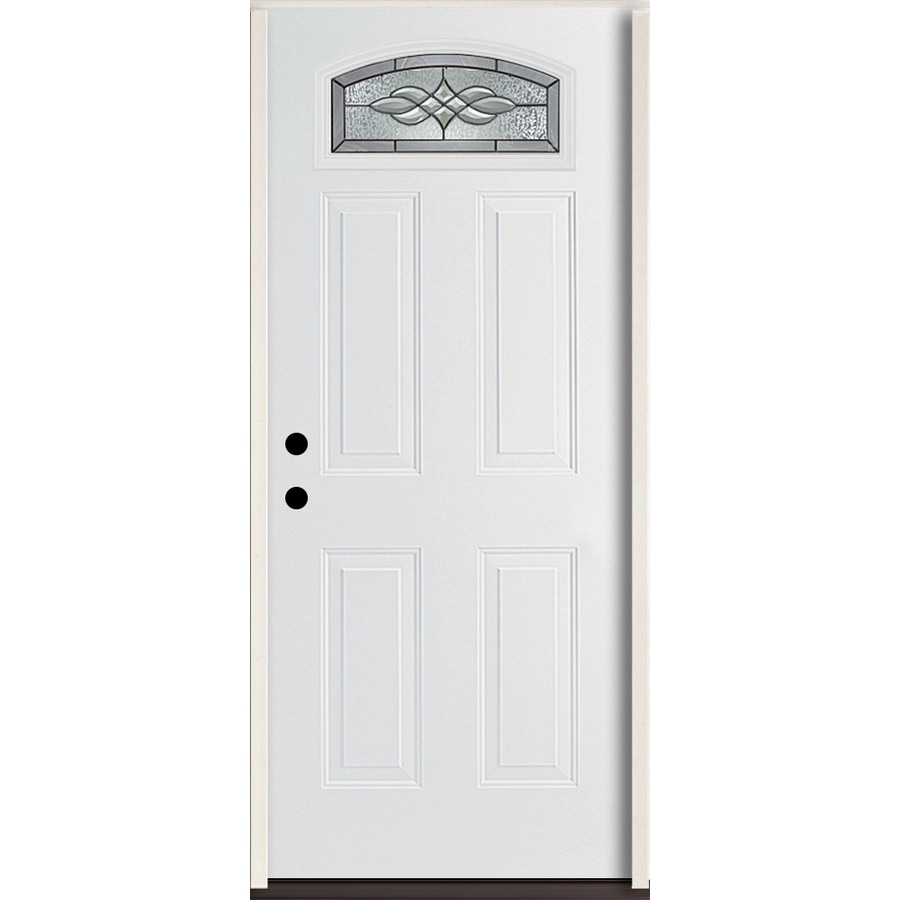 ReliaBilt Hampton 4-panel Insulating Core Morelight Right-Hand Inswing Modern White Fiberglass Painted Prehung Entry Door (Common: 36-in x 80-in; Actual: 37.5-in x 81.75-in)