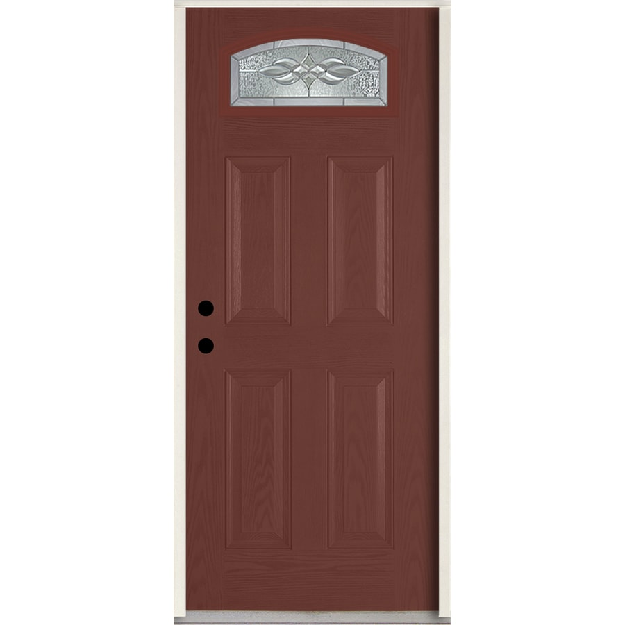 ReliaBilt Hampton Decorative Glass Right-Hand Inswing Wineberry Fiberglass Stained Entry Door (Common: 36-in x 80-in; Actual: 37.5-in x 81.75-in)