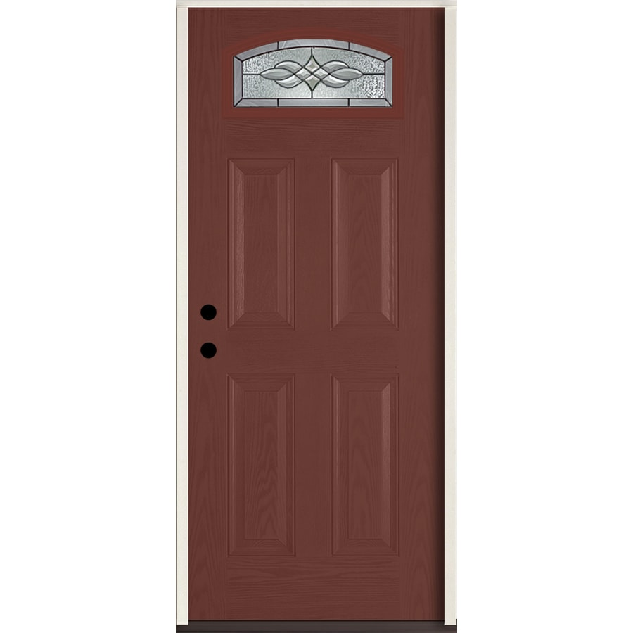 ReliaBilt Hampton 4-panel Insulating Core Morelight Right-Hand Inswing Wineberry Fiberglass Stained Prehung Entry Door (Common: 36-in x 80-in; Actual: 37.5-in x 81.75-in)