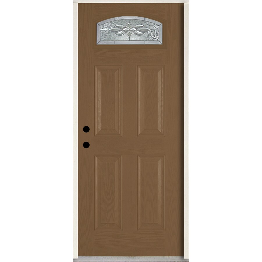 ReliaBilt Hampton 4-panel Insulating Core Morelight Right-Hand Inswing Woodhaven Fiberglass Stained Prehung Entry Door (Common: 36-in x 80-in; Actual: 37.5-in x 81.75-in)