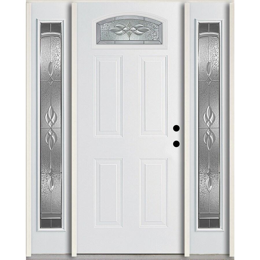 ReliaBilt Hampton 4-Panel Insulating Core Morelight Left-Hand Inswing Modern White Fiberglass Painted Prehung Entry Door (Common: 60.0-in x 80.0-in; Actual: 64.5-in x 81.75-in)