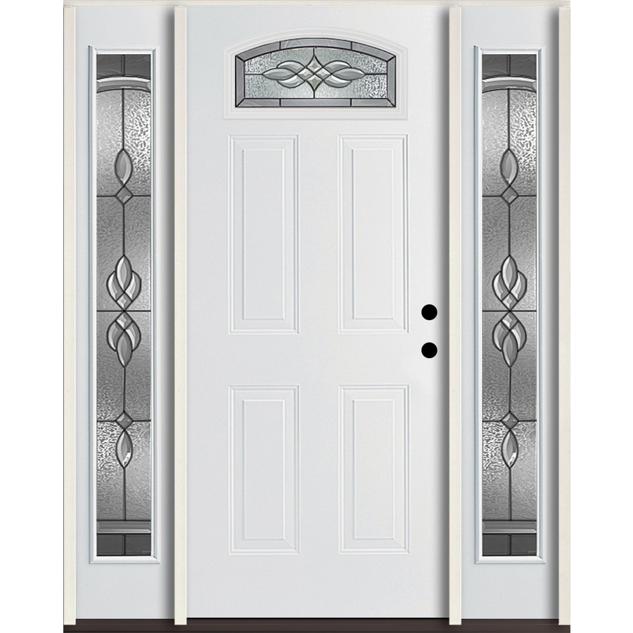 ReliaBilt Hampton 4-Panel Insulating Core Morelight Left-Hand Inswing Modern White Fiberglass Painted Prehung Entry Door (Common: 60.0-in x 80.0-in; Actual: 64.5-in x 81.75-in)