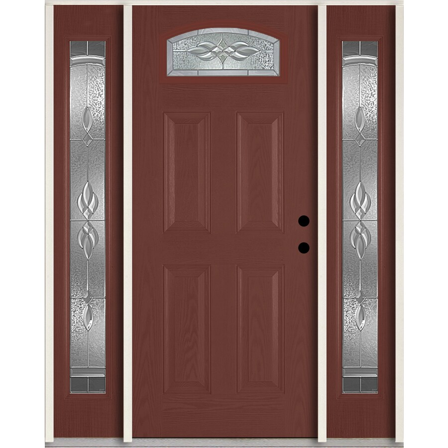 ReliaBilt Hampton 4-panel Insulating Core Morelight Left-Hand Inswing Wineberry Fiberglass Stained Prehung Entry Door (Common: 60-in x 80-in; Actual: 64.5-in x 81.75-in)