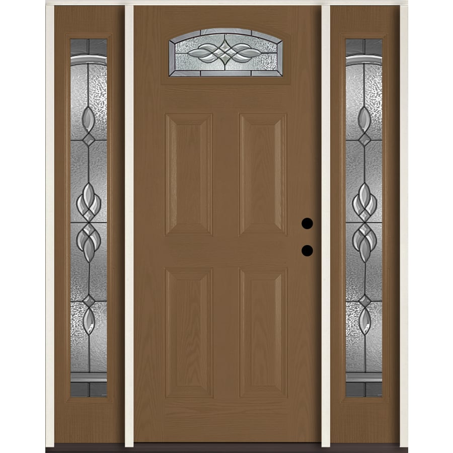 ReliaBilt Hampton 4-panel Insulating Core Morelight Left-Hand Inswing Woodhaven Fiberglass Stained Prehung Entry Door (Common: 60-in x 80-in; Actual: 64.5-in x 81.75-in)