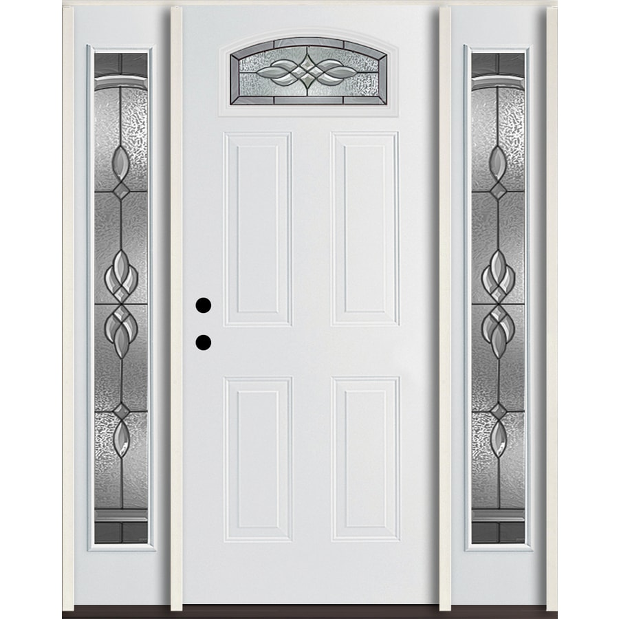 ReliaBilt Hampton 4-panel Insulating Core Morelight Right-Hand Inswing Modern White Fiberglass Painted Prehung Entry Door (Common: 60-in x 80-in; Actual: 64.5-in x 81.75-in)