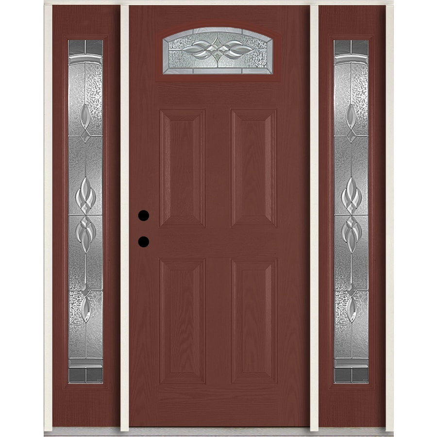 ReliaBilt Hampton 4-Panel Insulating Core Morelight Right-Hand Inswing Wineberry Fiberglass Stained Prehung Entry Door (Common: 60.0-in x 80.0-in; Actual: 64.5-in x 81.75-in)