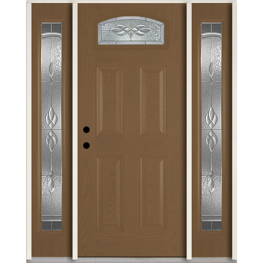 ReliaBilt Hampton 4-Panel Insulating Core Morelight Right-Hand Inswing Woodhaven Fiberglass Stained Prehung Entry Door (Common: 60.0-in x 80.0-in; Actual: 64.5-in x 81.75-in)