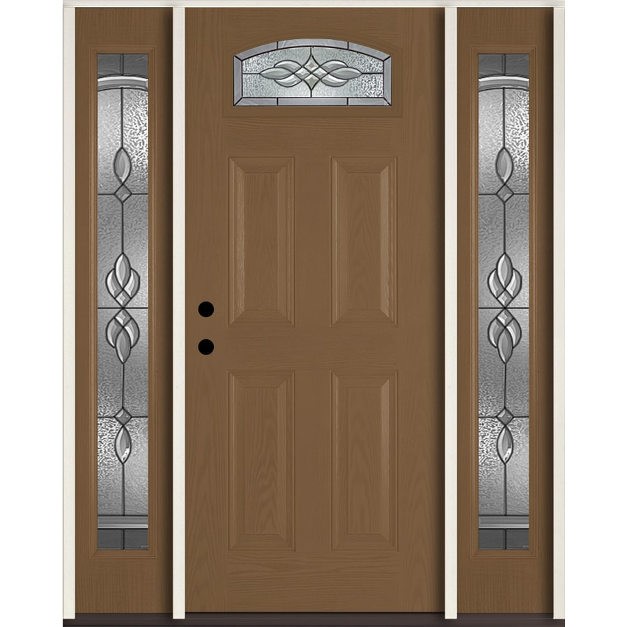 Shop reliabilt hampton decorative glass right hand inswing woodhaven fiberglass stained entry for Lowes fiberglass exterior doors