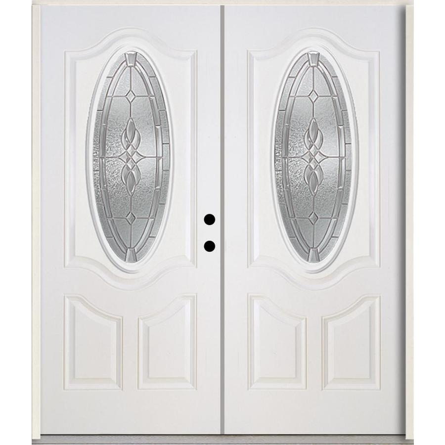 ReliaBilt Hampton 3-Panel Insulating Core Oval Lite Left-Hand Inswing Modern White Fiberglass Painted Prehung Entry Door (Common: 72.0-in x 80.0-in; Actual: 73.875-in x 81.75-in)