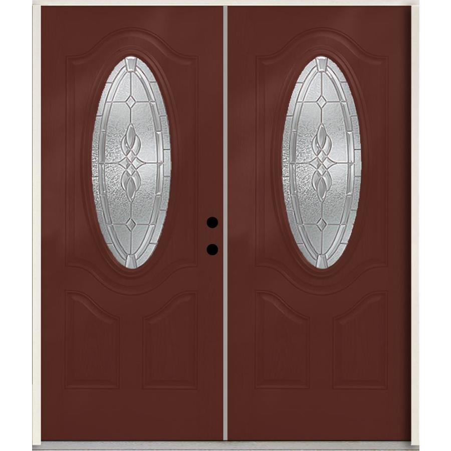 ReliaBilt Hampton 3-Panel Insulating Core Oval Lite Left-Hand Inswing Wineberry Fiberglass Stained Prehung Entry Door (Common: 72.0-in x 80.0-in; Actual: 73.875-in x 81.75-in)