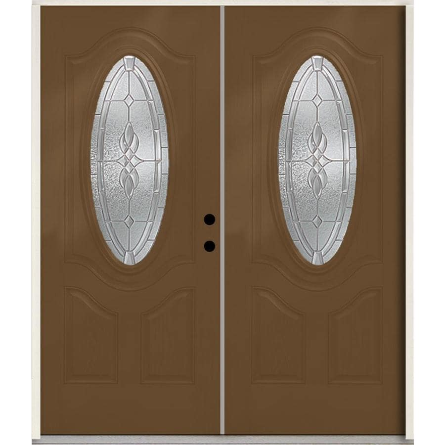 ReliaBilt Hampton 3-Panel Insulating Core Oval Lite Left-Hand Inswing Woodhaven Fiberglass Stained Prehung Entry Door (Common: 72.0-in x 80.0-in; Actual: 73.875-in x 81.75-in)