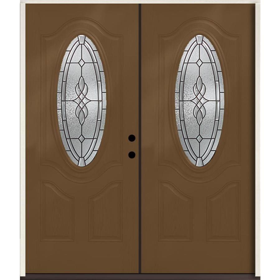 ReliaBilt Hampton 3-Panel Insulating Core Oval Lite Left-Hand Inswing Woodhaven Fiberglass Stained Prehung Entry Door (Common: 72.0-in x 80.0-in; Actual: 73.875-in x 81.75-in)