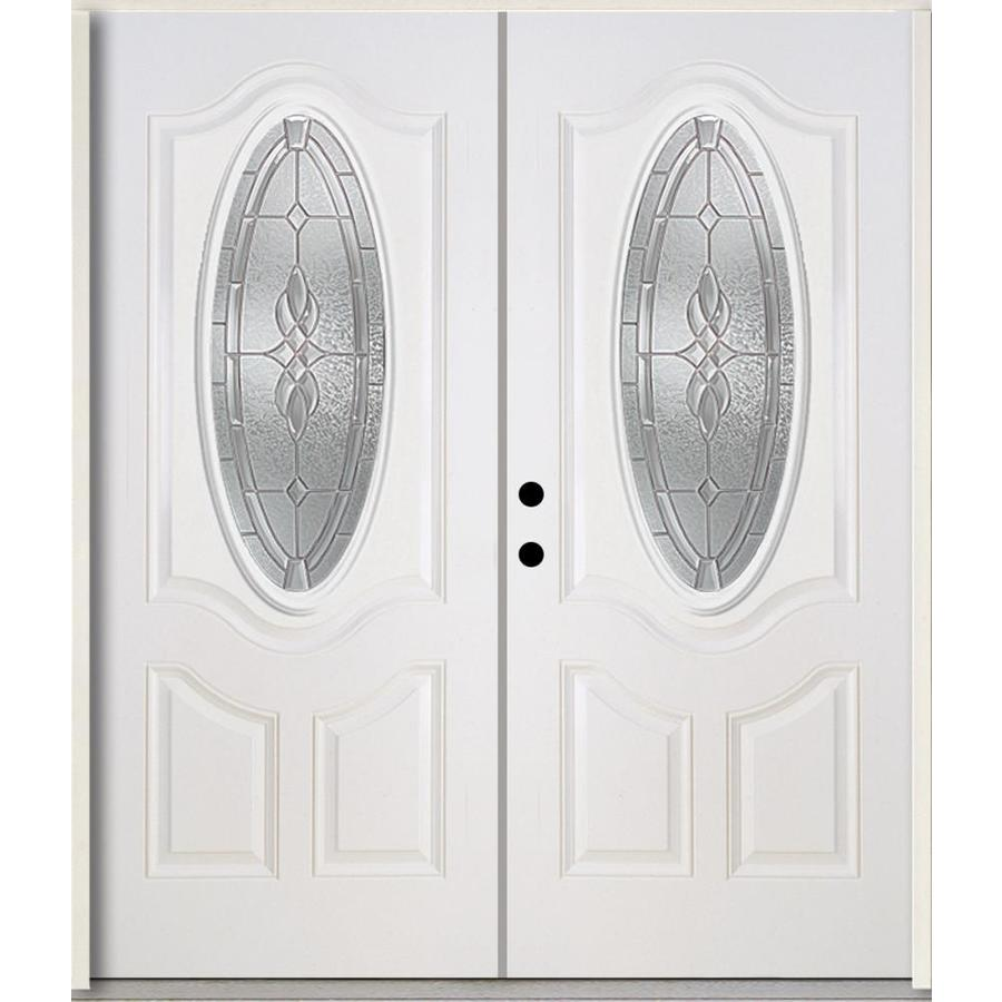ReliaBilt Hampton 3-Panel Insulating Core Oval Lite Right-Hand Inswing Modern White Fiberglass Painted Prehung Entry Door (Common: 72.0-in x 80.0-in; Actual: 73.875-in x 81.75-in)