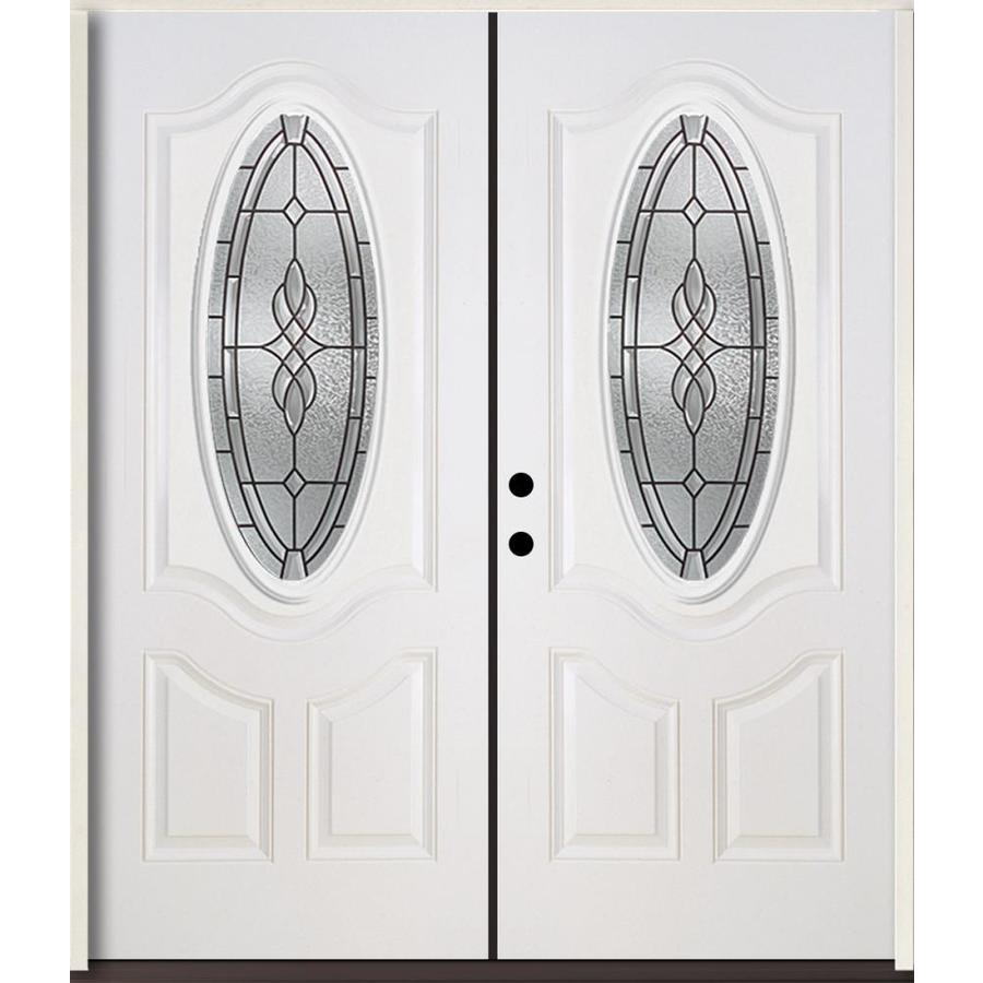 ReliaBilt Hampton 3-panel Insulating Core Oval Lite Right-Hand Inswing Modern White Fiberglass Painted Prehung Entry Door (Common: 72-in x 80-in; Actual: 73.875-in x 81.75-in)