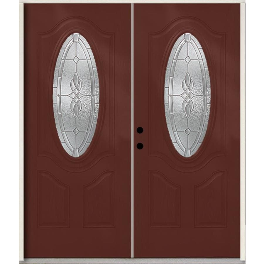 ReliaBilt Hampton 3-panel Insulating Core Oval Lite Right-Hand Inswing Wineberry Fiberglass Stained Prehung Entry Door (Common: 72-in x 80-in; Actual: 73.875-in x 81.75-in)