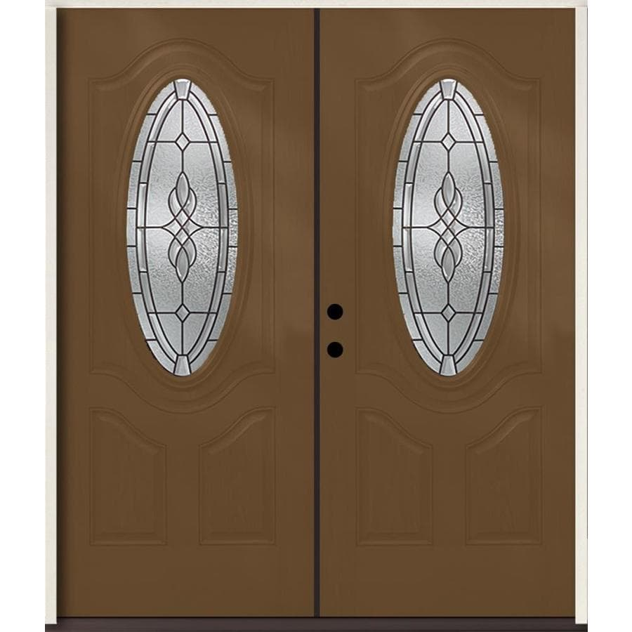 ReliaBilt Hampton Decorative Glass Right-Hand Inswing Woodhaven Fiberglass Stained Entry Door (Common: 72-in x 80-in; Actual: 73.875-in x 81.75-in)