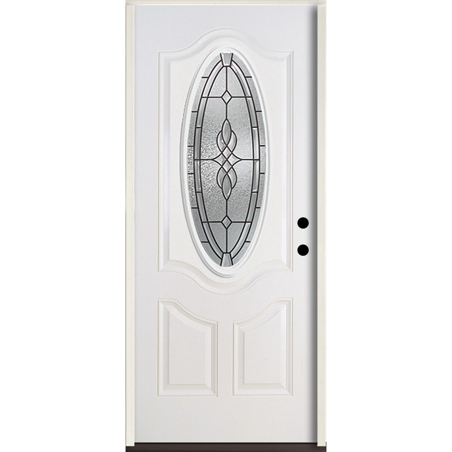 ReliaBilt Hampton 3-Panel Insulating Core Oval Lite Left-Hand Inswing Modern White Fiberglass Painted Prehung Entry Door (Common: 36.0-in x 80.0-in; Actual: 37.5-in x 81.75-in)