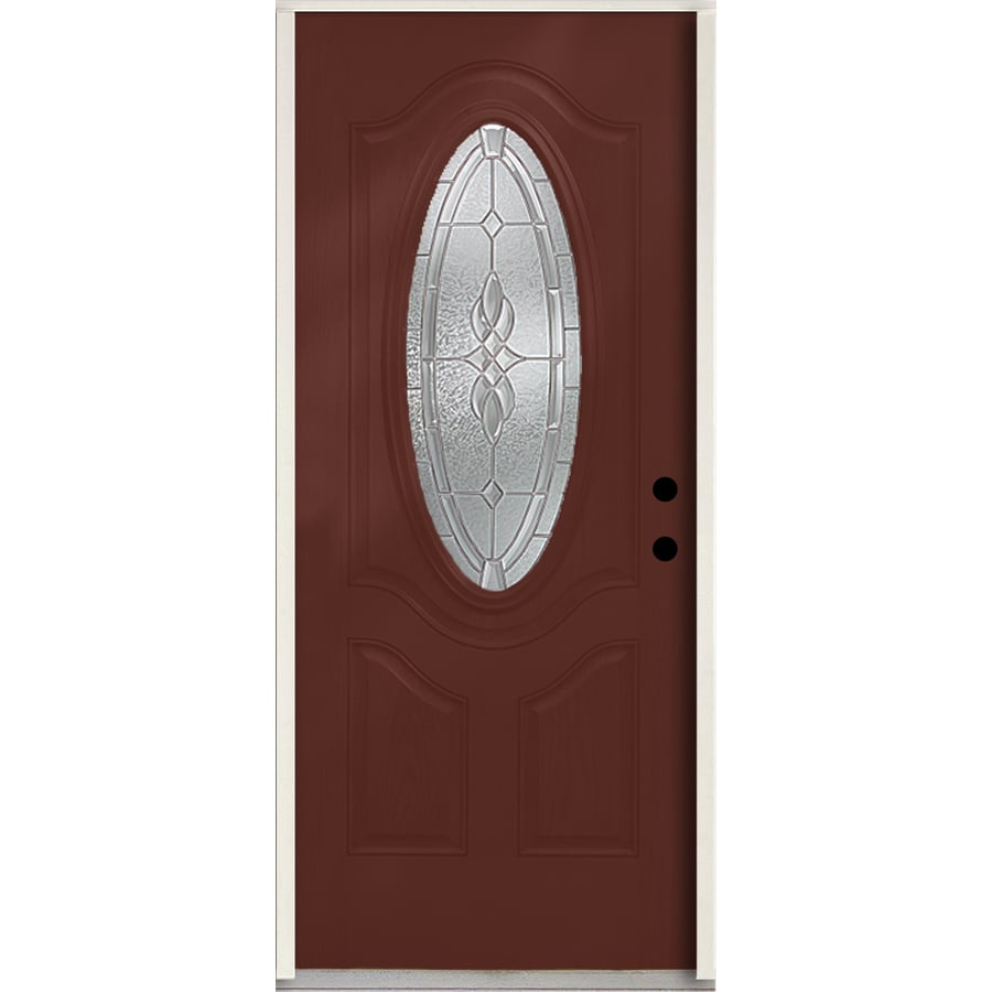 ReliaBilt Hampton 3-panel Insulating Core Oval Lite Left-Hand Inswing Wineberry Fiberglass Stained Prehung Entry Door (Common: 36-in x 80-in; Actual: 37.5-in x 81.75-in)