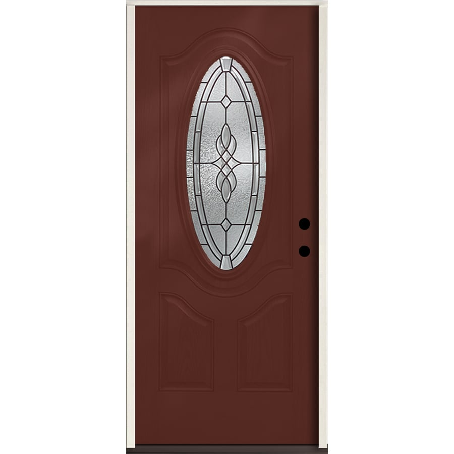 ReliaBilt Hampton 3-Panel Insulating Core Oval Lite Left-Hand Inswing Wineberry Fiberglass Stained Prehung Entry Door (Common: 36.0-in x 80.0-in; Actual: 37.5-in x 81.75-in)