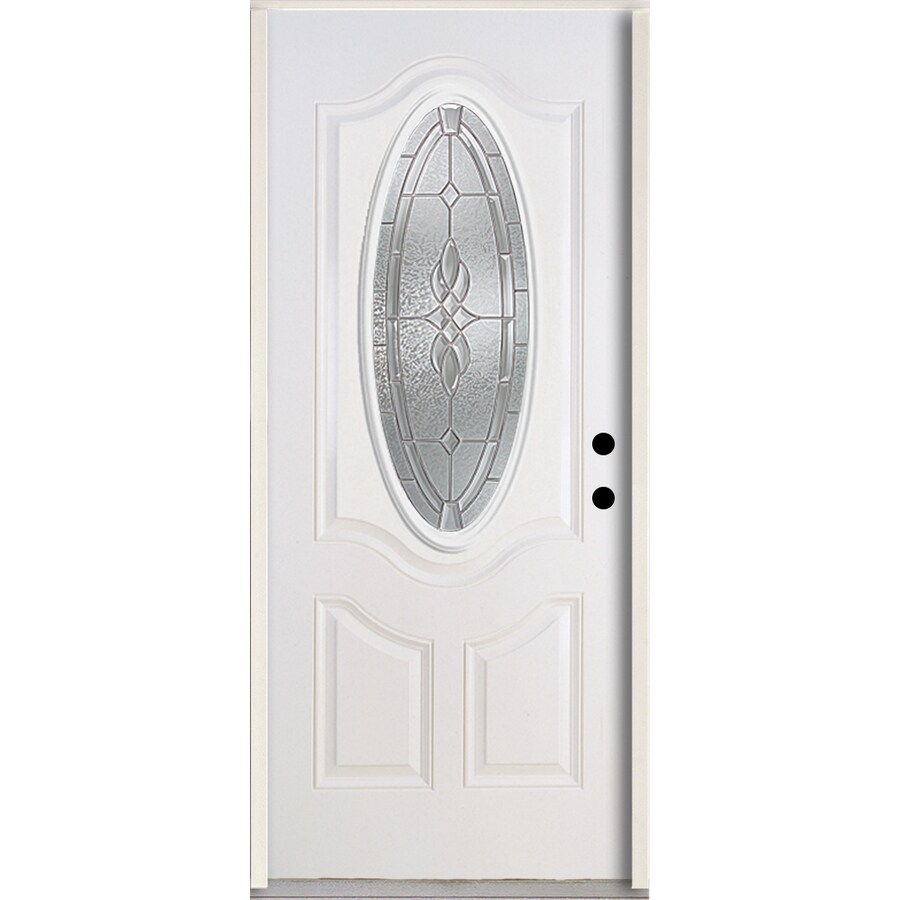 ReliaBilt Hampton Decorative Glass Right-Hand Inswing Modern White Fiberglass Painted Entry Door (Common: 36-in x 80-in; Actual: 37.5-in x 81.75-in)