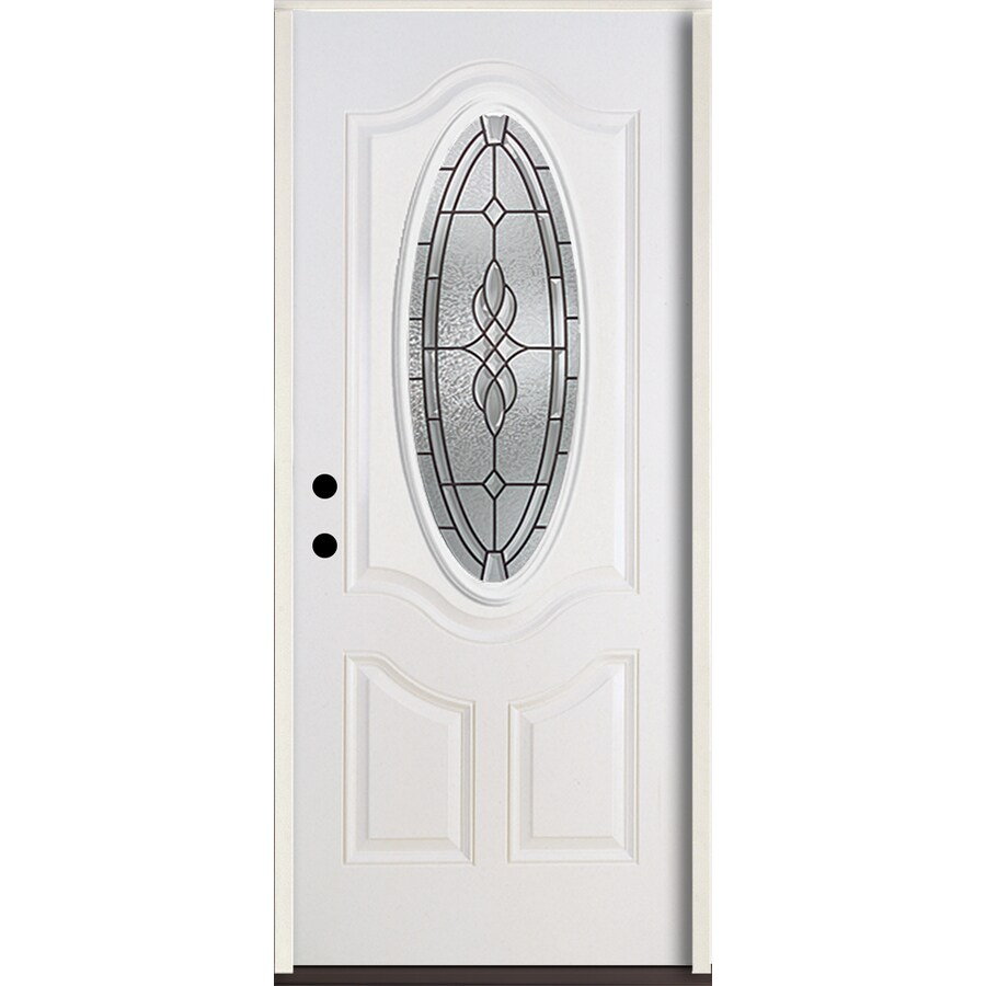 ReliaBilt Hampton 3-Panel Insulating Core Oval Lite Right-Hand Inswing Modern White Fiberglass Painted Prehung Entry Door (Common: 36.0-in x 80.0-in; Actual: 37.5-in x 81.75-in)