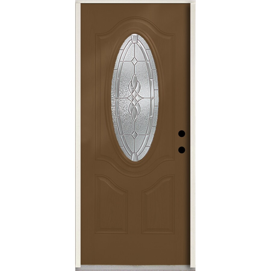 ReliaBilt Hampton 3-panel Insulating Core Oval Lite Right-Hand Inswing Woodhaven Fiberglass Stained Prehung Entry Door (Common: 36-in x 80-in; Actual: 37.5-in x 81.75-in)