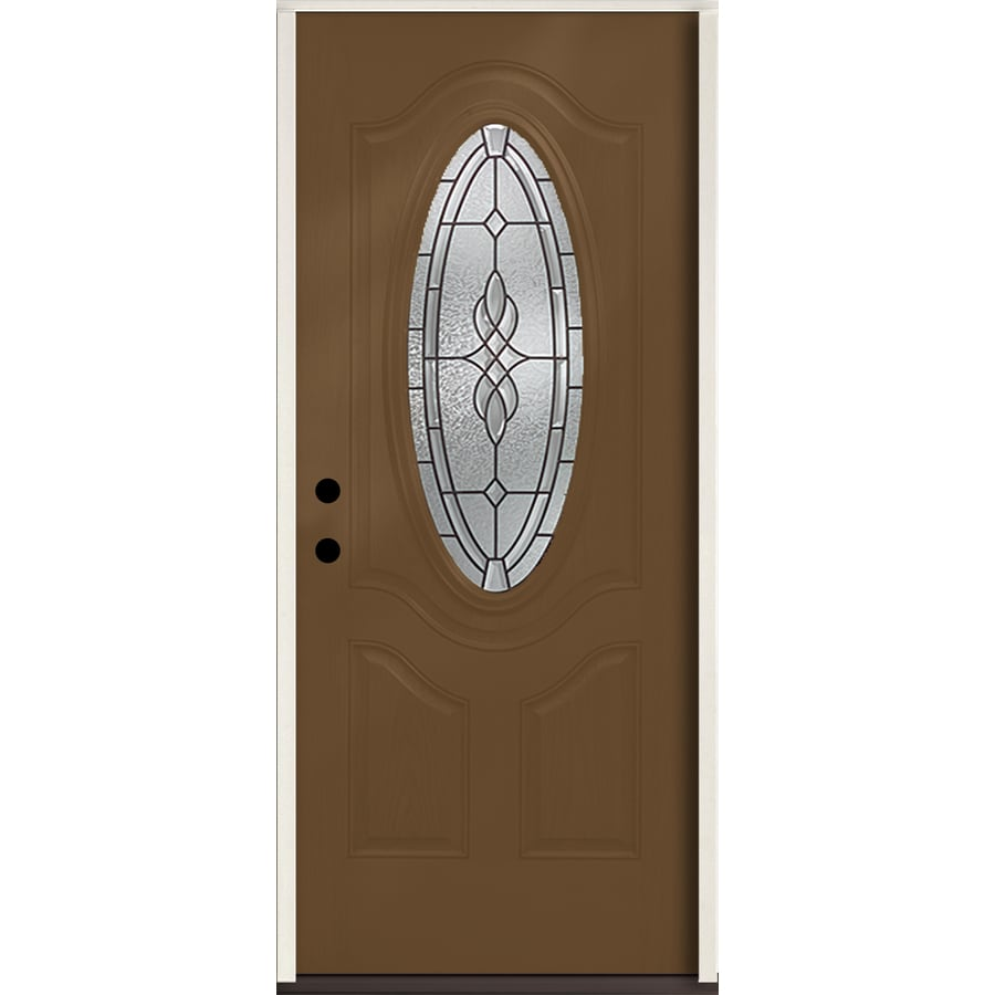 ReliaBilt Hampton 3-Panel Insulating Core Oval Lite Right-Hand Inswing Woodhaven Fiberglass Stained Prehung Entry Door (Common: 36.0-in x 80.0-in; Actual: 37.5-in x 81.75-in)