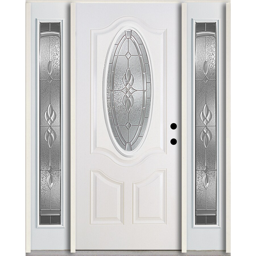 ReliaBilt Hampton 3-Panel Insulating Core Oval Lite Left-Hand Inswing Modern White Fiberglass Painted Prehung Entry Door (Common: 60-in x 80-in; Actual: 64.5-in x 81.75-in)