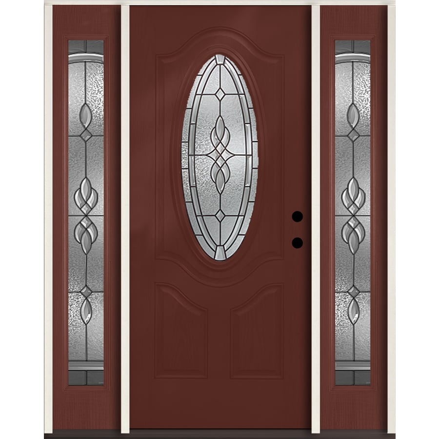 ReliaBilt Hampton 3-panel Insulating Core Oval Lite Left-Hand Inswing Wineberry Fiberglass Stained Prehung Entry Door (Common: 60-in x 80-in; Actual: 64.5-in x 81.75-in)