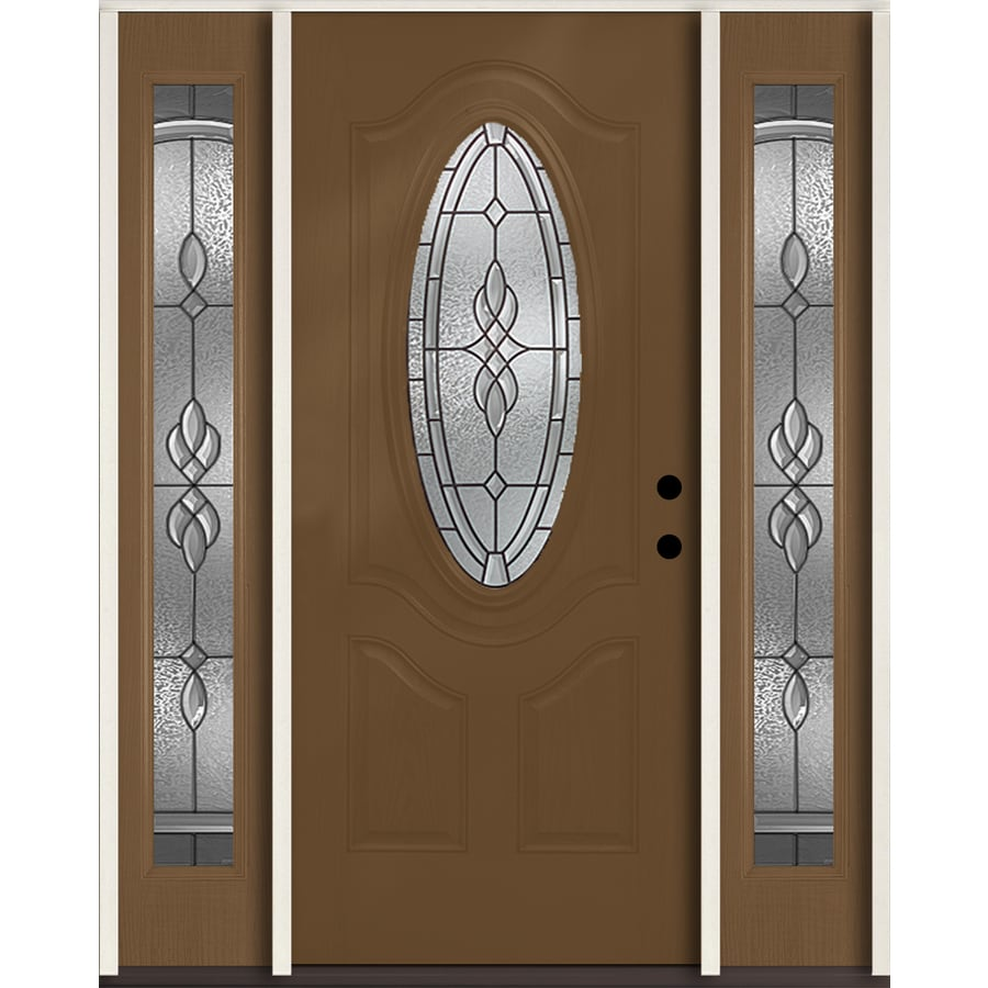 ReliaBilt Hampton 3-panel Insulating Core Oval Lite Left-Hand Inswing Woodhaven Fiberglass Stained Prehung Entry Door (Common: 60-in x 80-in; Actual: 64.5-in x 81.75-in)
