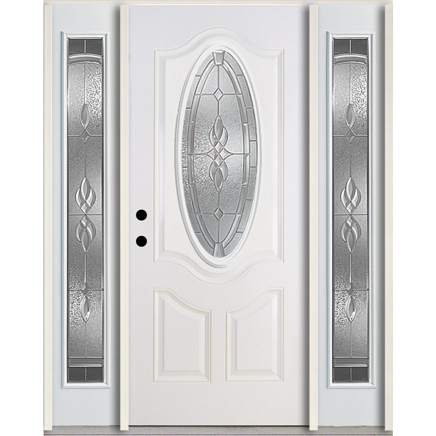 ReliaBilt Hampton 3-Panel Insulating Core Oval Lite Right-Hand Inswing Modern White Fiberglass Painted Prehung Entry Door (Common: 60.0-in x 80.0-in; Actual: 64.5-in x 81.75-in)