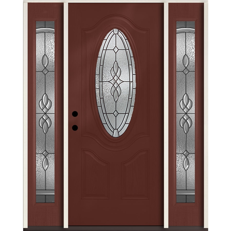 ReliaBilt Hampton 3-Panel Insulating Core Oval Lite Right-Hand Inswing Wineberry Fiberglass Stained Prehung Entry Door (Common: 60-in x 80-in; Actual: 64.5-in x 81.75-in)