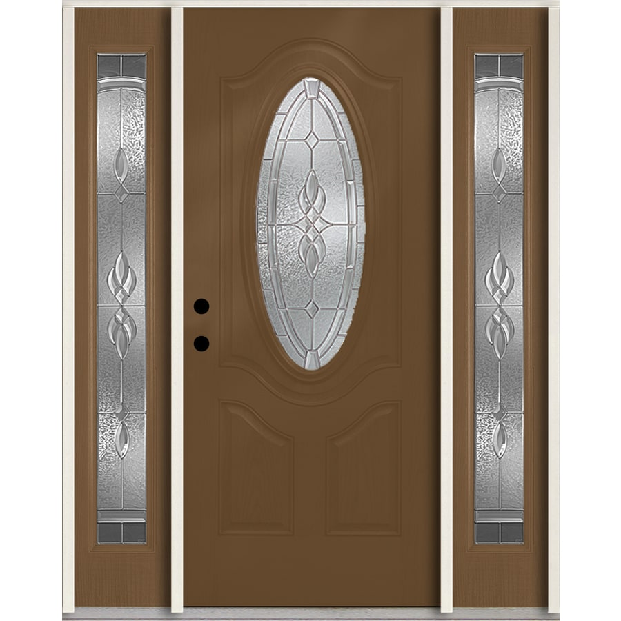ReliaBilt Hampton Decorative Glass Right-Hand Inswing Woodhaven Fiberglass Stained Entry Door (Common: 60-in x 80-in; Actual: 64.5-in x 81.75-in)