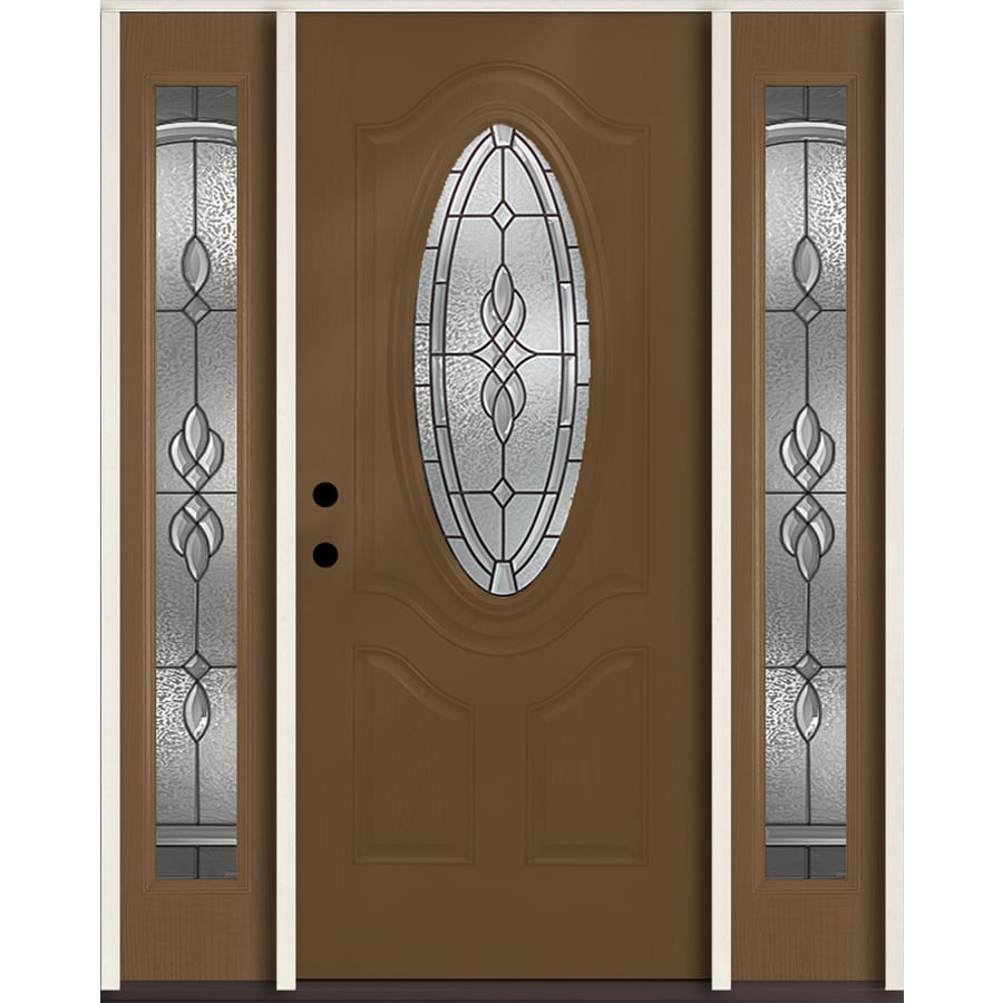 ReliaBilt Hampton 3-panel Insulating Core Oval Lite Right-Hand Inswing Woodhaven Fiberglass Stained Prehung Entry Door (Common: 60-in x 80-in; Actual: 64.5-in x 81.75-in)