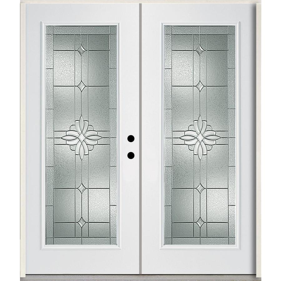 ReliaBilt Laurel Flush Insulating Core Full Lite Left-Hand Inswing Modern White Fiberglass Painted Prehung Entry Door (Common: 72-in x 80-in; Actual: 73.875-in x 81.75-in)