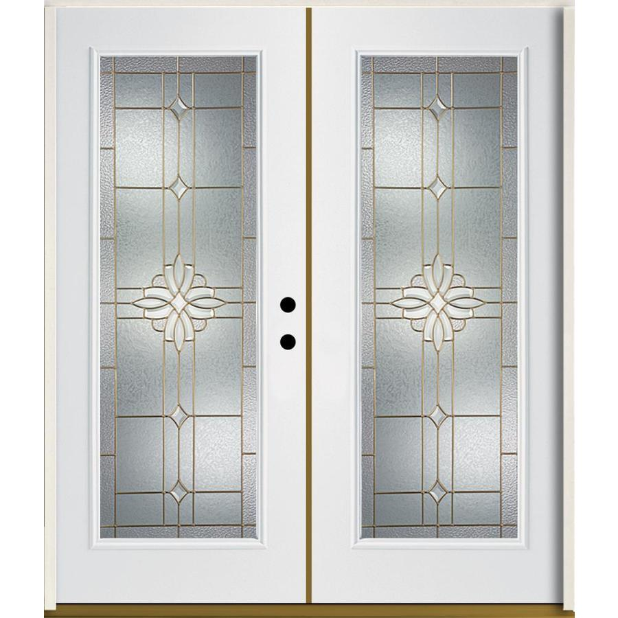 ReliaBilt Laurel Flush Insulating Core Full Lite Left-Hand Inswing Modern White Fiberglass Painted Prehung Entry Door (Common: 72-in x 80-in; Actual: 73.875-in x 81.75-in)