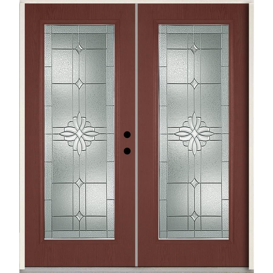 ReliaBilt Laurel Flush Insulating Core Full Lite Left-Hand Inswing Wineberry Fiberglass Stained Prehung Entry Door (Common: 72.0-in x 80.0-in; Actual: 73.875-in x 81.75-in)