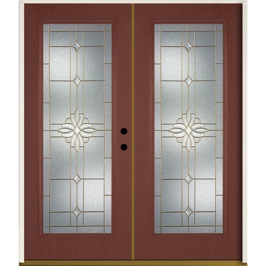 ReliaBilt Laurel Flush Insulating Core Full Lite Left-Hand Inswing Wineberry Fiberglass Stained Prehung Entry Door (Common: 72-in x 80-in; Actual: 73.875-in x 81.75-in)