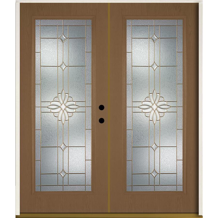 ReliaBilt Laurel Flush Insulating Core Full Lite Left-Hand Inswing Woodhaven Fiberglass Stained Prehung Entry Door (Common: 72.0-in x 80.0-in; Actual: 73.875-in x 81.75-in)