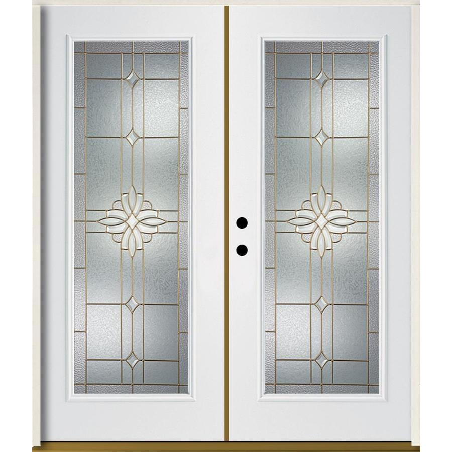 ReliaBilt Laurel Flush Insulating Core Full Lite Right-Hand Inswing Modern White Fiberglass Painted Prehung Entry Door (Common: 72-in x 80-in; Actual: 73.875-in x 81.75-in)