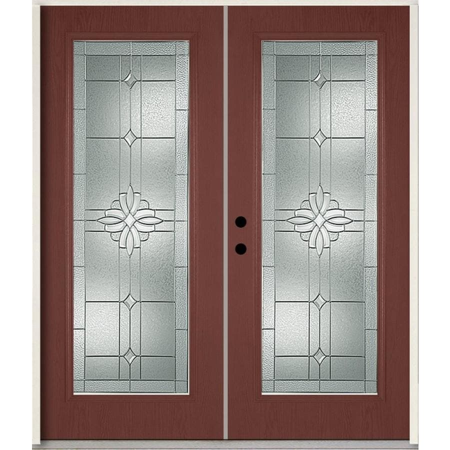ReliaBilt Laurel Flush Insulating Core Full Lite Right-Hand Inswing Wineberry Fiberglass Stained Prehung Entry Door (Common: 72.0-in x 80.0-in; Actual: 73.875-in x 81.75-in)